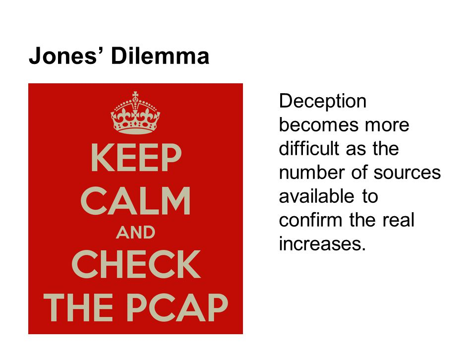 Jones' Dilemma Deception becomes more difficult as the number of sources available to confirm the real increases.