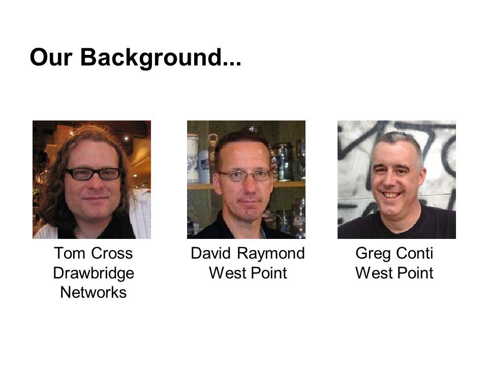 Our Background... Tom Cross Drawbridge Networks David Raymond West Point Greg Conti West Point