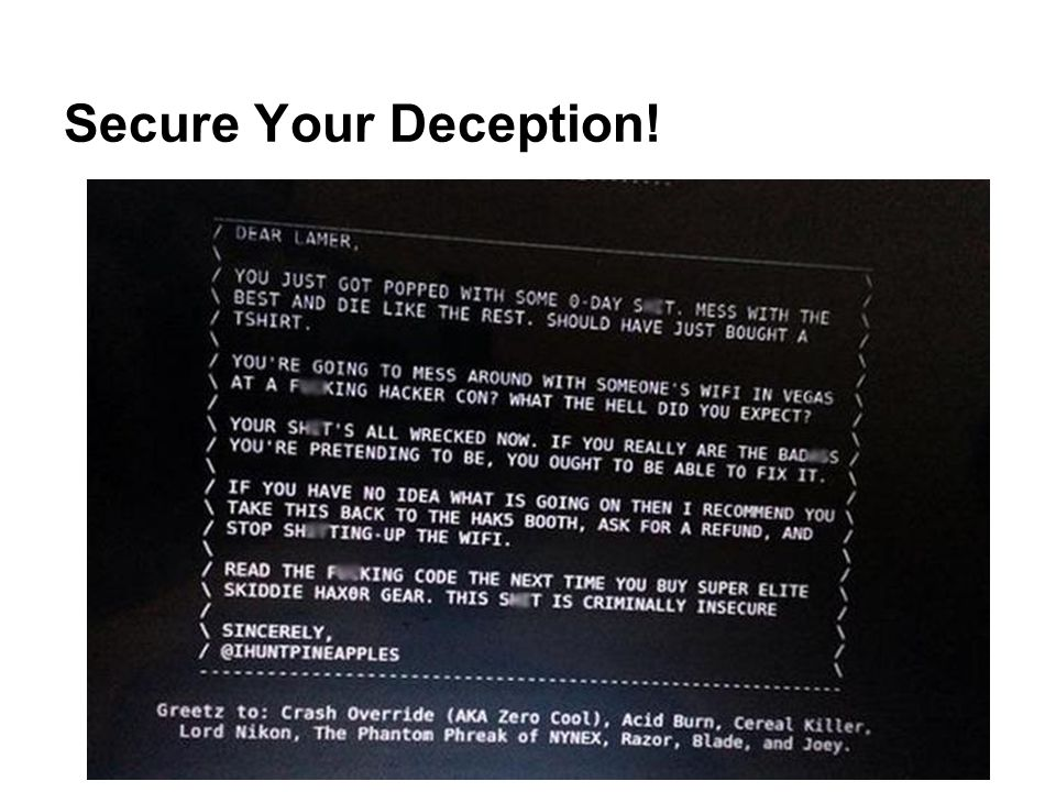 Secure Your Deception!