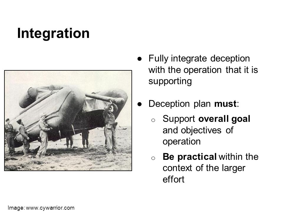 Integration ●Fully integrate deception with the operation that it is supporting ●Deception plan must: o Support overall goal and objectives of operati
