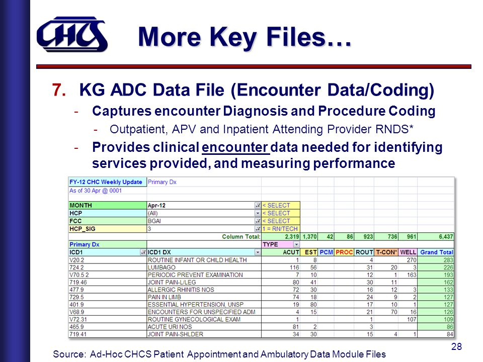 28 More Key Files… 7.KG ADC Data File (Encounter Data/Coding) -Captures encounter Diagnosis and Procedure Coding -Outpatient, APV and Inpatient Attending Provider RNDS* -Provides clinical encounter data needed for identifying services provided, and measuring performance Source: Ad-Hoc CHCS Patient Appointment and Ambulatory Data Module Files