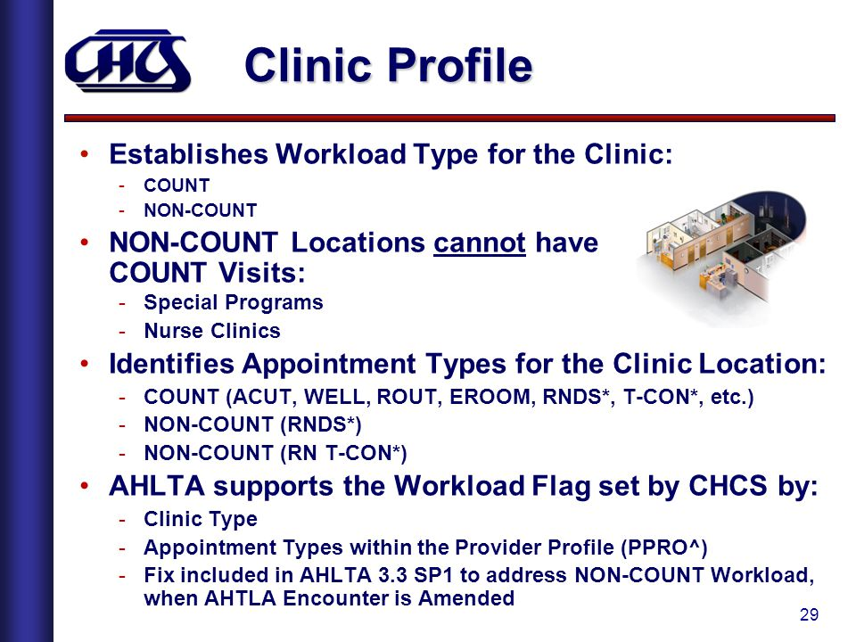 29 Clinic Profile Establishes Workload Type for the Clinic: -COUNT -NON-COUNT NON-COUNT Locations cannot have COUNT Visits: -Special Programs -Nurse Clinics Identifies Appointment Types for the Clinic Location: -COUNT (ACUT, WELL, ROUT, EROOM, RNDS*, T-CON*, etc.) -NON-COUNT (RNDS*) -NON-COUNT (RN T-CON*) AHLTA supports the Workload Flag set by CHCS by: -Clinic Type -Appointment Types within the Provider Profile (PPRO^) -Fix included in AHLTA 3.3 SP1 to address NON-COUNT Workload, when AHTLA Encounter is Amended