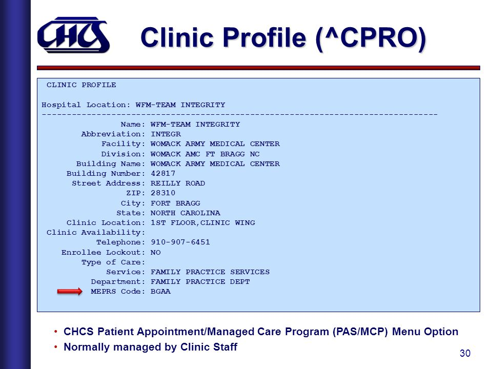 30 Clinic Profile (^CPRO) CLINIC PROFILE Hospital Location: WFM-TEAM INTEGRITY -------------------------------------------------------------------------------- Name: WFM-TEAM INTEGRITY Abbreviation: INTEGR Facility: WOMACK ARMY MEDICAL CENTER Division: WOMACK AMC FT BRAGG NC Building Name: WOMACK ARMY MEDICAL CENTER Building Number: 42817 Street Address: REILLY ROAD ZIP: 28310 City: FORT BRAGG State: NORTH CAROLINA Clinic Location: 1ST FLOOR,CLINIC WING Clinic Availability: Telephone: 910-907-6451 Enrollee Lockout: NO Type of Care: Service: FAMILY PRACTICE SERVICES Department: FAMILY PRACTICE DEPT MEPRS Code: BGAA CHCS Patient Appointment/Managed Care Program (PAS/MCP) Menu Option Normally managed by Clinic Staff
