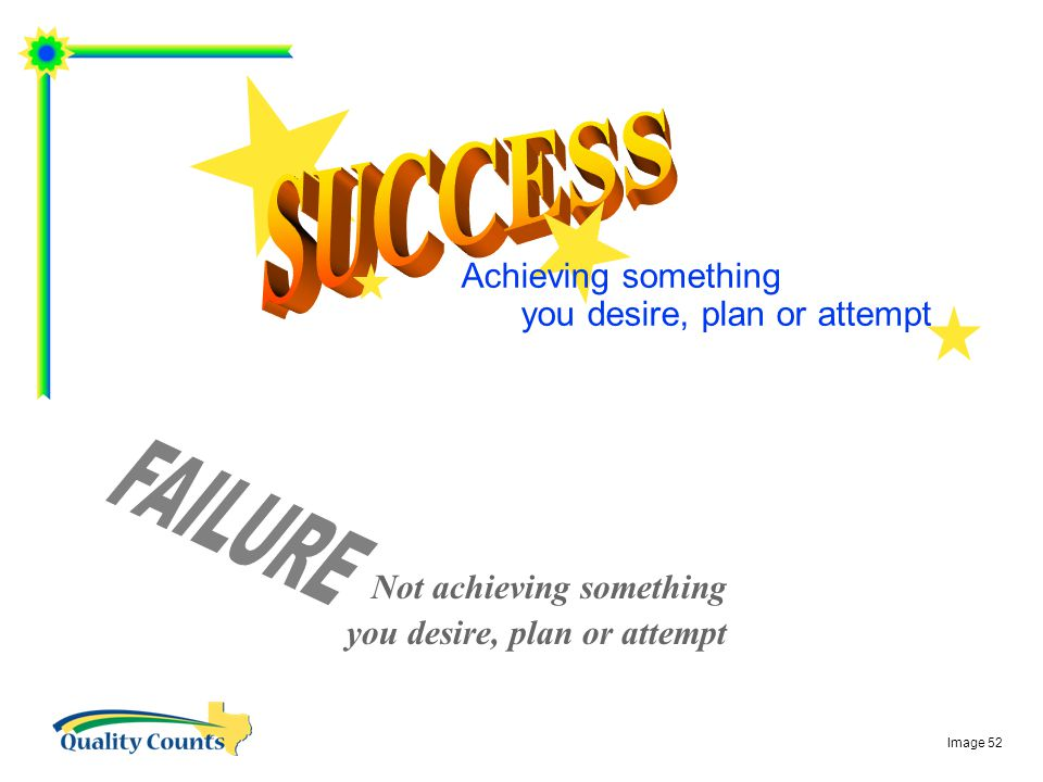 Achieving something you desire, plan or attempt Not achieving something you desire, plan or attempt Image 52