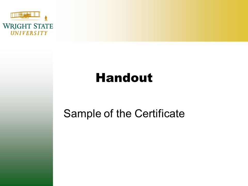 Handout Sample of the Certificate