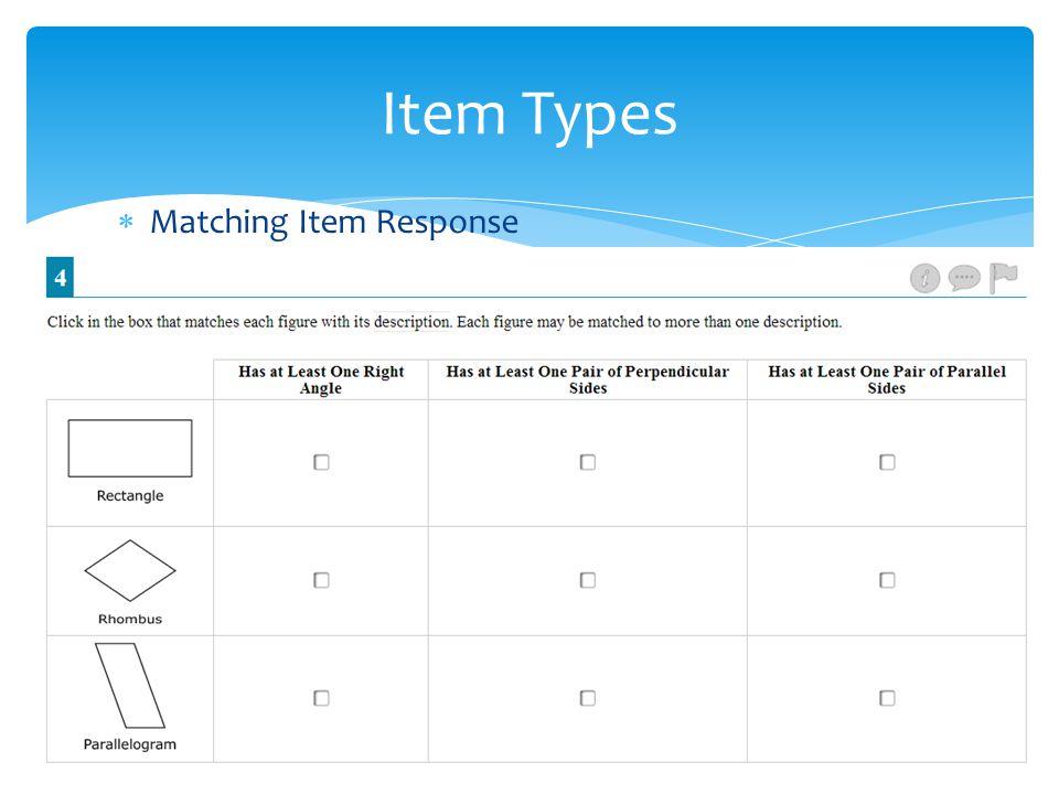  Matching Item Response Item Types