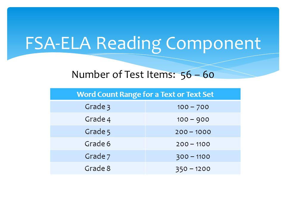 FSA-ELA Reading Component Number of Test Items: 56 – 60 Resources Grades 3 and 4 (Paper-Based): Test and Answer Book Grade 5 (Computer-Based): One-Page Work Folder for Note- taking This is optional because students may also take notes using an on-screen notepad.