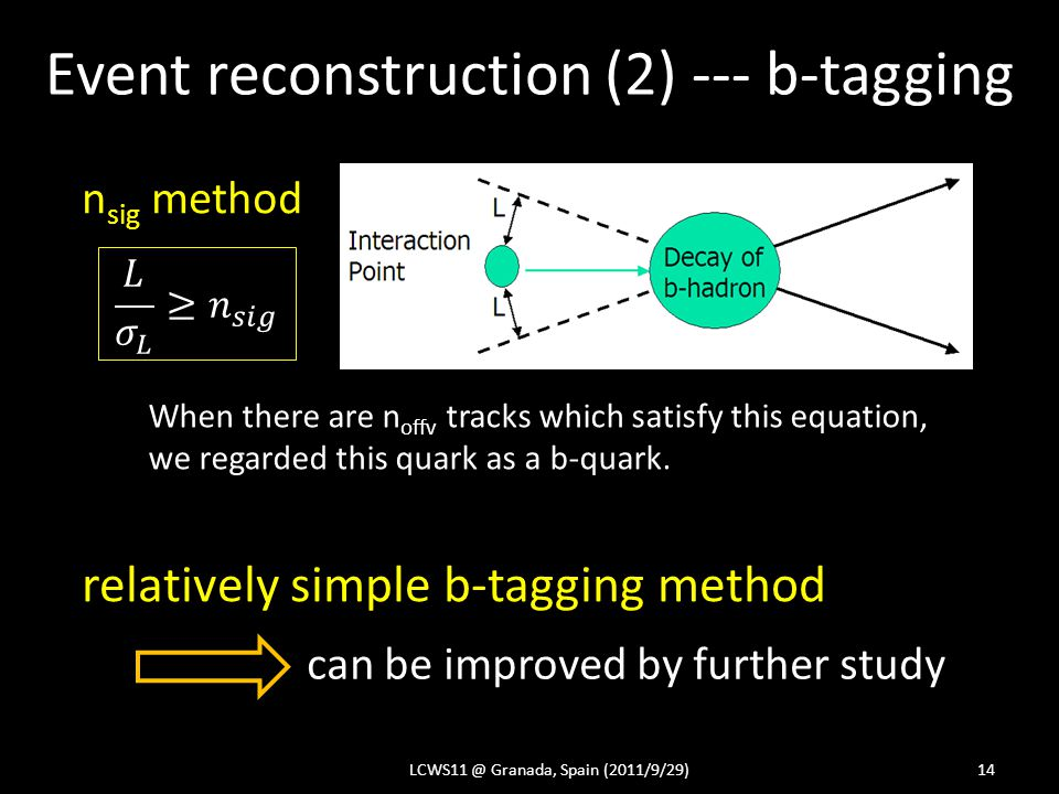 Event reconstruction (2) --- b-tagging LCWS11 @ Granada, Spain (2011/9/29)14 When there are n offv tracks which satisfy this equation, we regarded this quark as a b-quark.