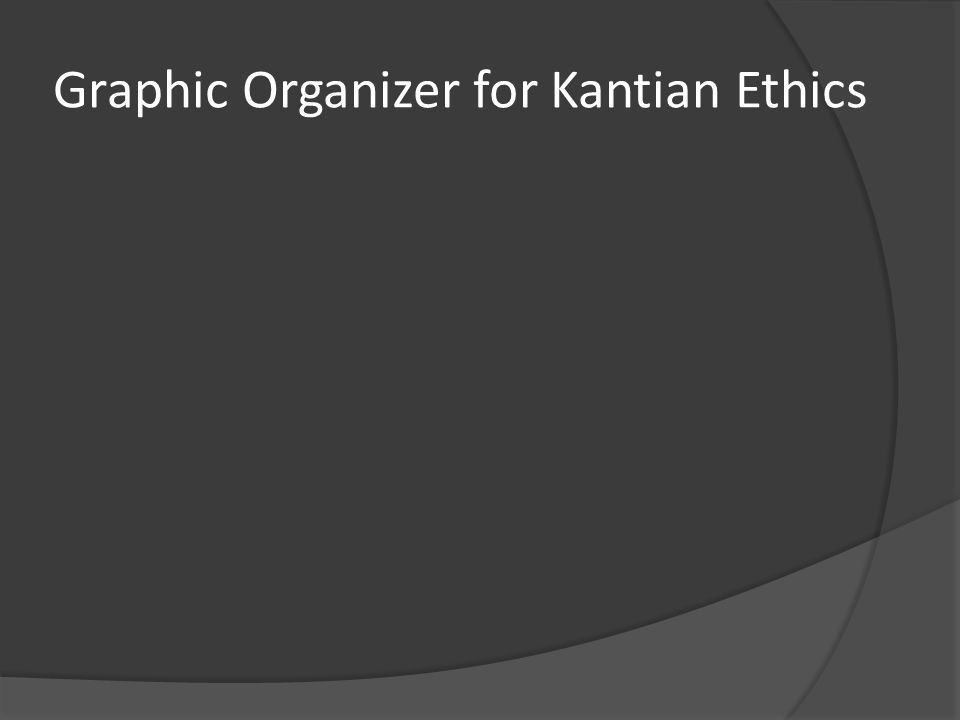 Graphic Organizer for Kantian Ethics