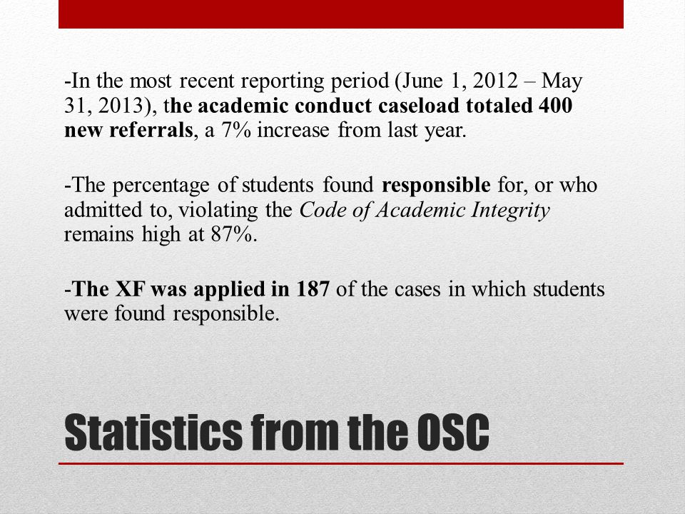 Statistics from the OSC -In the most recent reporting period (June 1, 2012 – May 31, 2013), the academic conduct caseload totaled 400 new referrals, a 7% increase from last year.