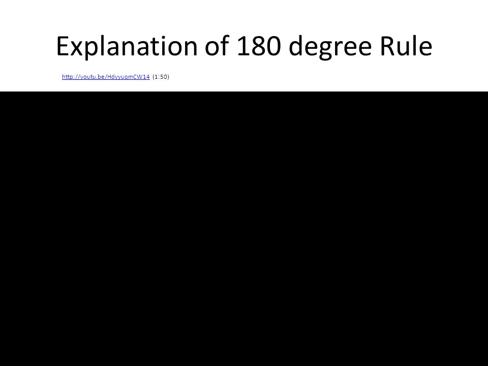 Explanation of 180 degree Rule http://youtu.be/HdyyuqmCW14http://youtu.be/HdyyuqmCW14 (1:50)
