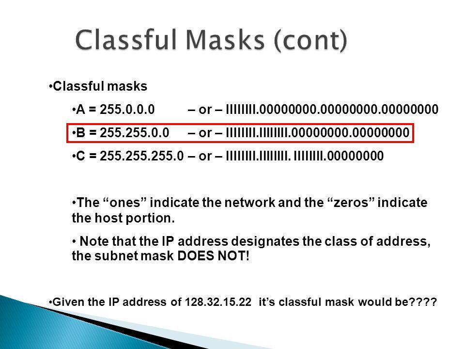 Classful masks A = 255.0.0.0 – or – IIIIIIII.00000000.00000000.00000000 B = 255.255.0.0– or – IIIIIIII.IIIIIIII.00000000.00000000 C = 255.255.255.0 – or – IIIIIIII.IIIIIIII.
