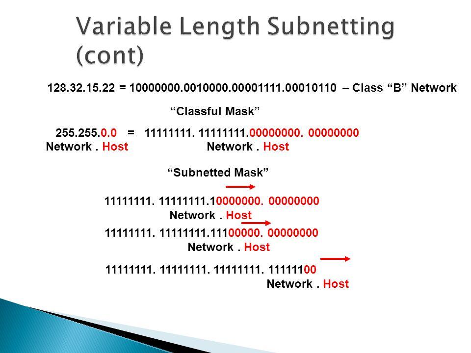 Classful Mask 255.255.0.0 = 11111111. 11111111.00000000.