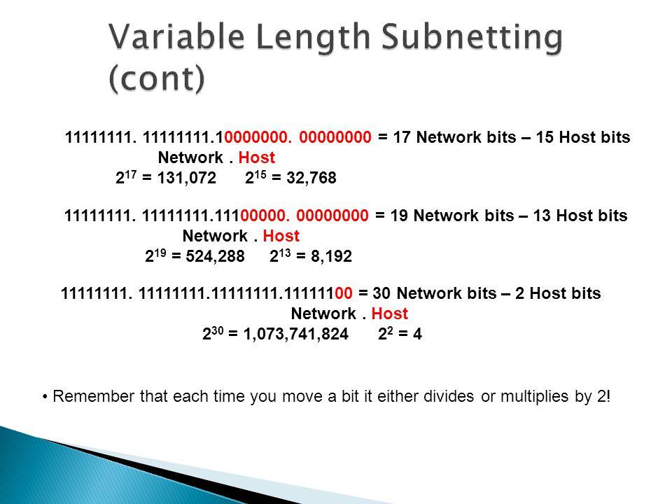 11111111. 11111111.11111111.11111100 = 30 Network bits – 2 Host bits Network.