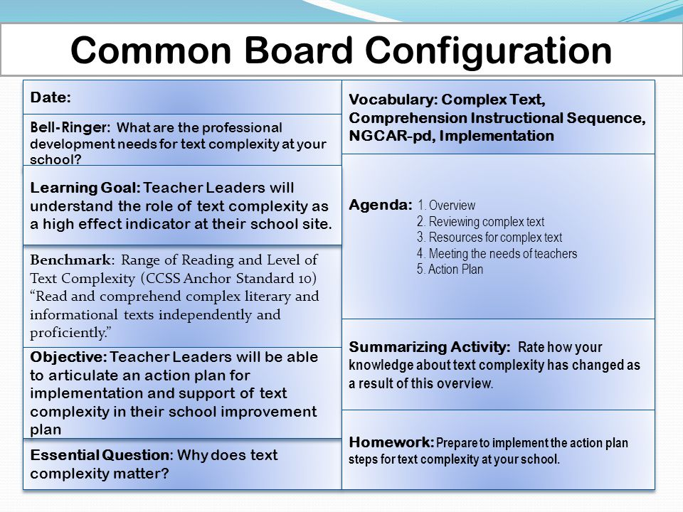 Common Board Configuration Date: Benchmark: Range of Reading and Level of Text Complexity (CCSS Anchor Standard 10) Read and comprehend complex literary and informational texts independently and proficiently. Benchmark: Range of Reading and Level of Text Complexity (CCSS Anchor Standard 10) Read and comprehend complex literary and informational texts independently and proficiently. Bell-Ringer: What are the professional development needs for text complexity at your school.