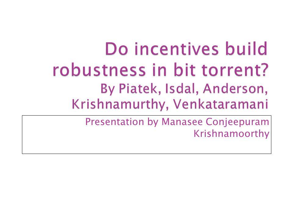 Presentation by Manasee Conjeepuram Krishnamoorthy
