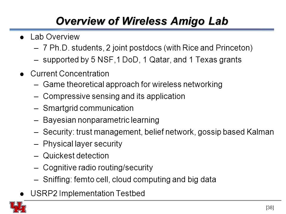 Overview of Wireless Amigo Lab Lab Overview –7 Ph.D.