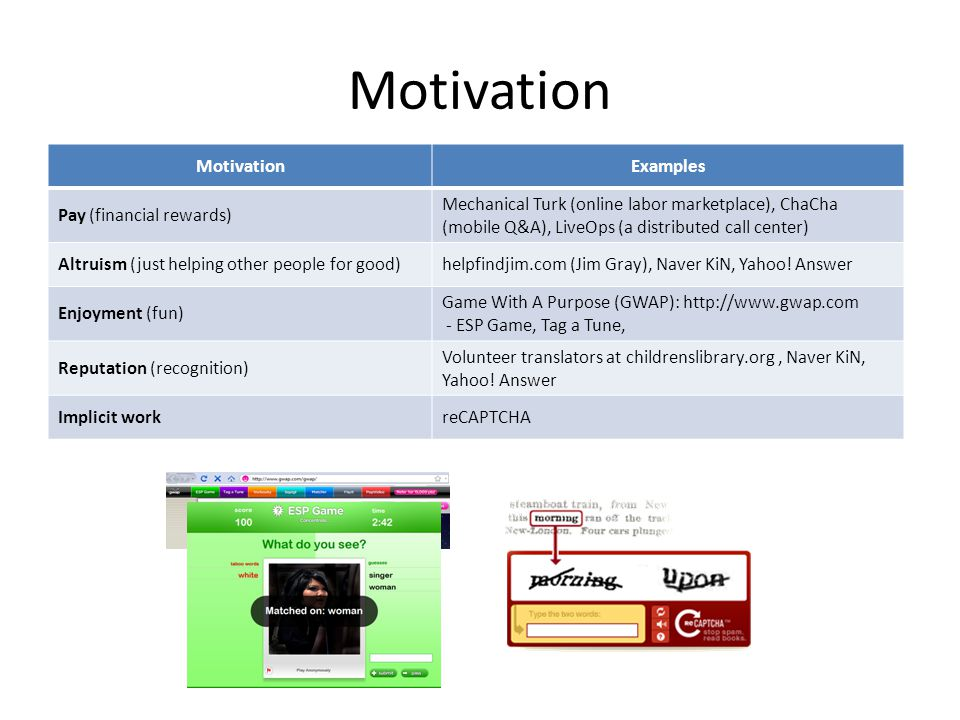 Motivation Examples Pay (financial rewards) Mechanical Turk (online labor marketplace), ChaCha (mobile Q&A), LiveOps (a distributed call center) Altruism (just helping other people for good)helpfindjim.com (Jim Gray), Naver KiN, Yahoo.