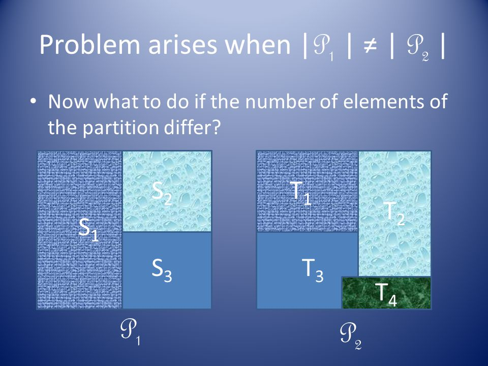 Problem arises when | P 1 | ≠ | P 2 | Now what to do if the number of elements of the partition differ.