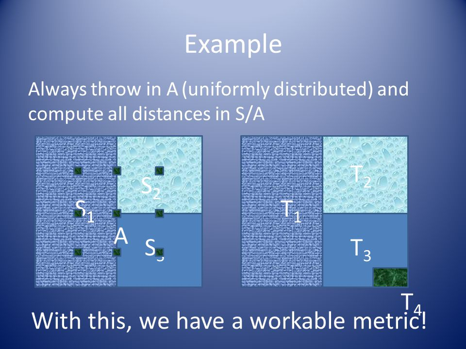 Example S1S1 S2S2 S3S3 T1T1 T2T2 T3T3 T4T4 Always throw in A (uniformly distributed) and compute all distances in S/A A With this, we have a workable metric!