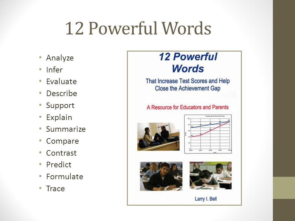 12 Powerful Words Analyze Infer Evaluate Describe Support Explain Summarize Compare Contrast Predict Formulate Trace