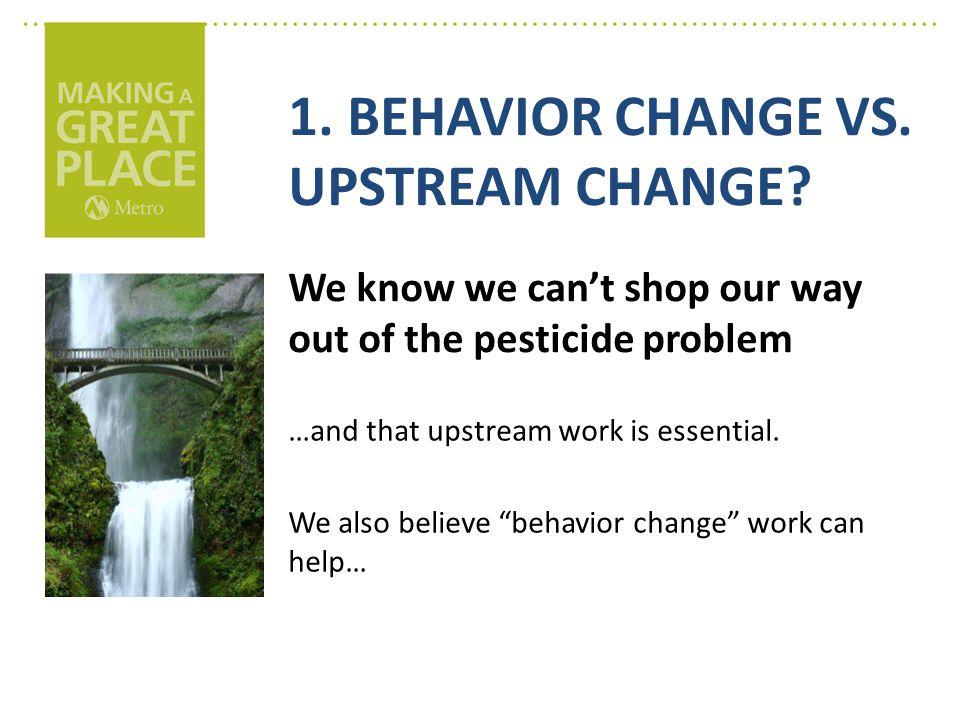 1. BEHAVIOR CHANGE VS. UPSTREAM CHANGE.