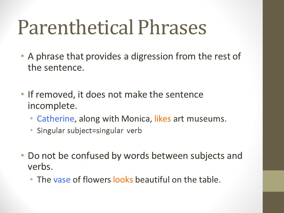 Parenthetical Phrases A phrase that provides a digression from the rest of the sentence.