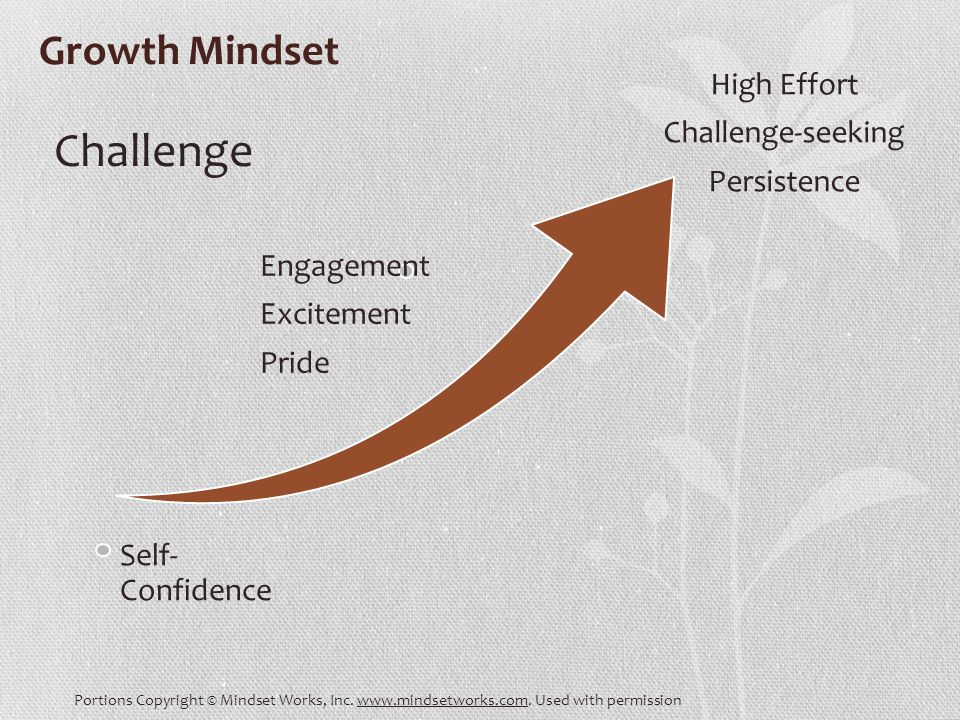 Growth Mindset Challenge Engagement Excitement Pride Self- Confidence High Effort Challenge-seeking Persistence Portions Copyright © Mindset Works, Inc.