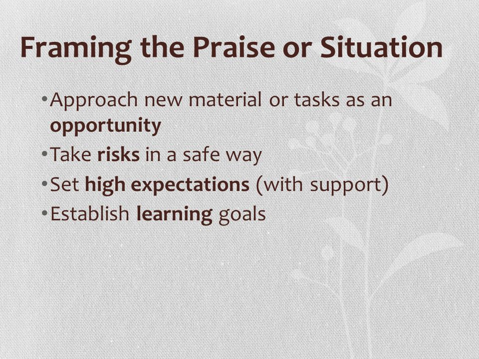 Framing the Praise or Situation Approach new material or tasks as an opportunity Take risks in a safe way Set high expectations (with support) Establish learning goals