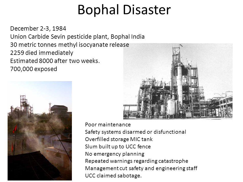 Bophal Disaster December 2-3, 1984 Union Carbide Sevin pesticide plant, Bophal India 30 metric tonnes methyl isocyanate release 2259 died immediately
