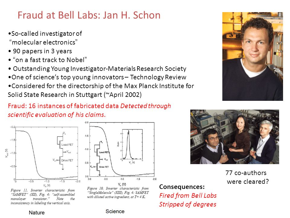 Fraud: 16 instances of fabricated data Detected through scientific evaluation of his claims. Consequences: Fired from Bell Labs Stripped of degrees So