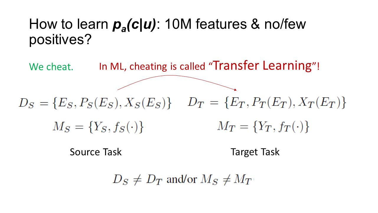 How to learn p a (c|u): 10M features & no/few positives.