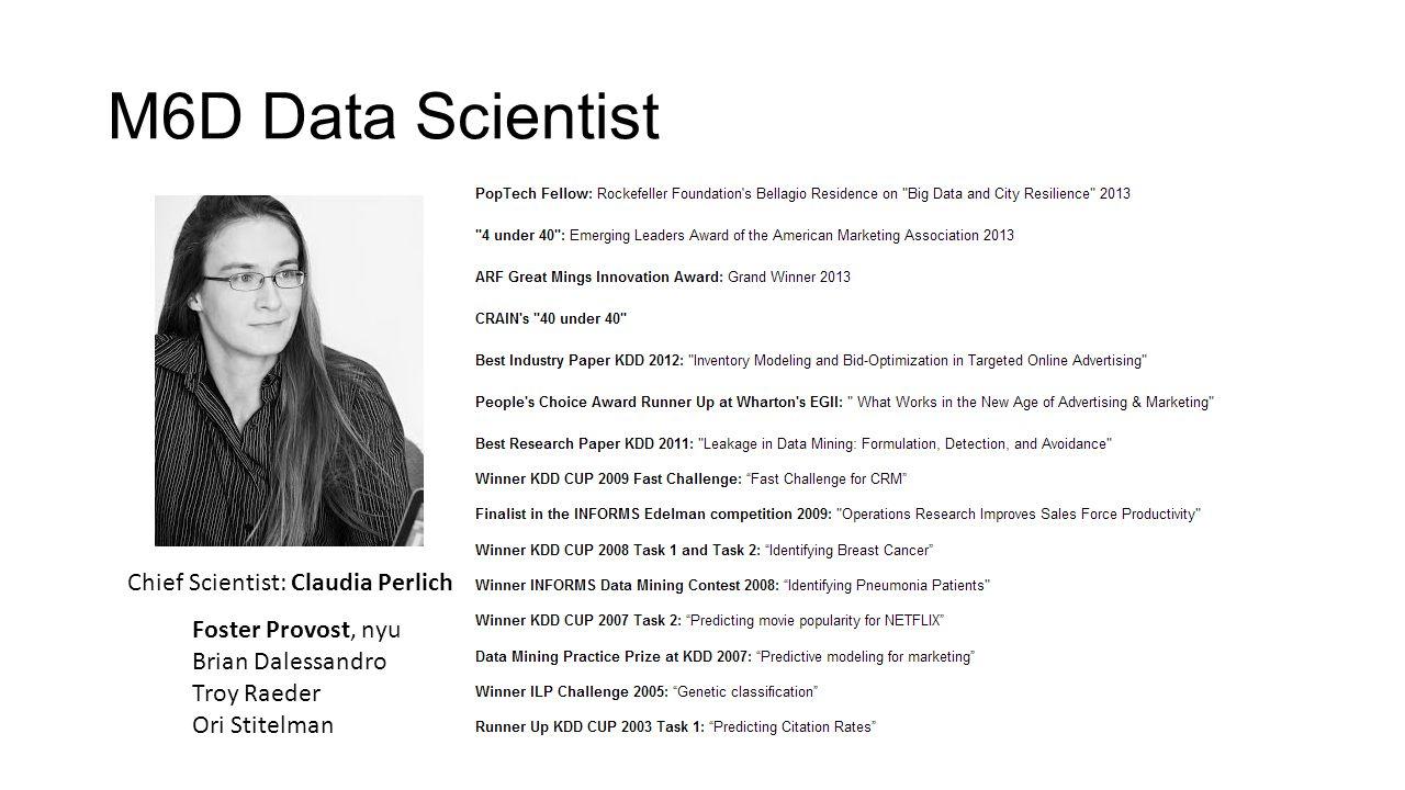 M6D Data Scientist Chief Scientist: Claudia Perlich Foster Provost, nyu Brian Dalessandro Troy Raeder Ori Stitelman