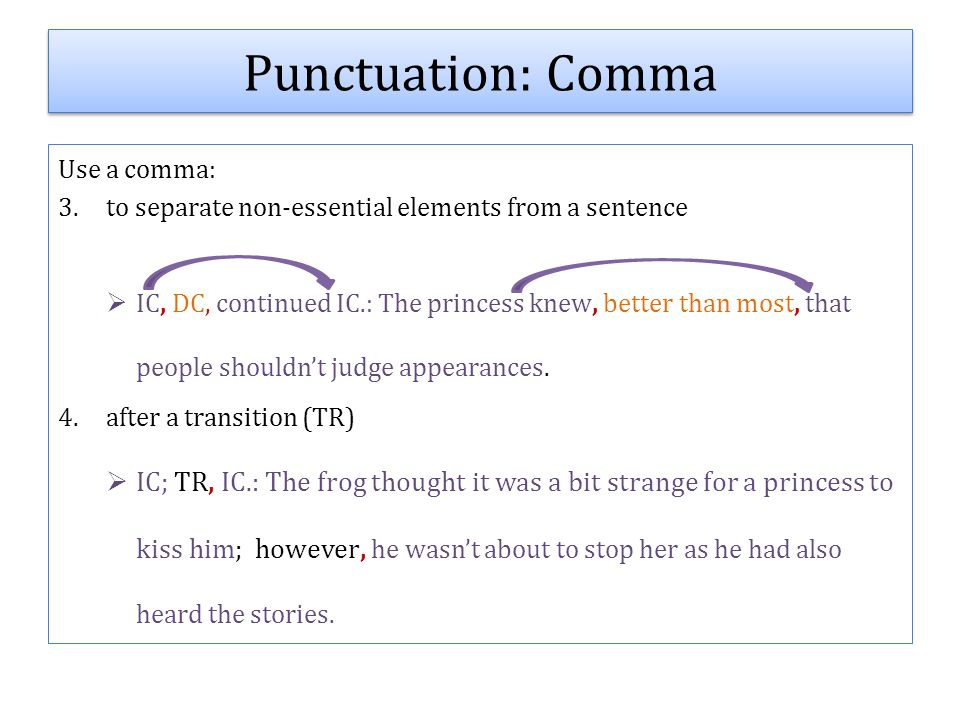 Use a comma: 3.to separate non-essential elements from a sentence  IC, DC, continued IC.: The princess knew, better than most, that people shouldn't judge appearances.
