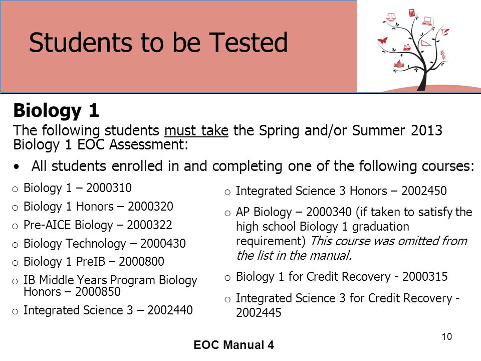 Students to be Tested Biology 1 The following students must take the Spring and/or Summer 2013 Biology 1 EOC Assessment: All students enrolled in and completing one of the following courses: o Biology 1 – 2000310 o Biology 1 Honors – 2000320 o Pre-AICE Biology – 2000322 o Biology Technology – 2000430 o Biology 1 PreIB – 2000800 o IB Middle Years Program Biology Honors – 2000850 o Integrated Science 3 – 2002440 o Integrated Science 3 Honors – 2002450 o AP Biology – 2000340 (if taken to satisfy the high school Biology 1 graduation requirement) This course was omitted from the list in the manual.