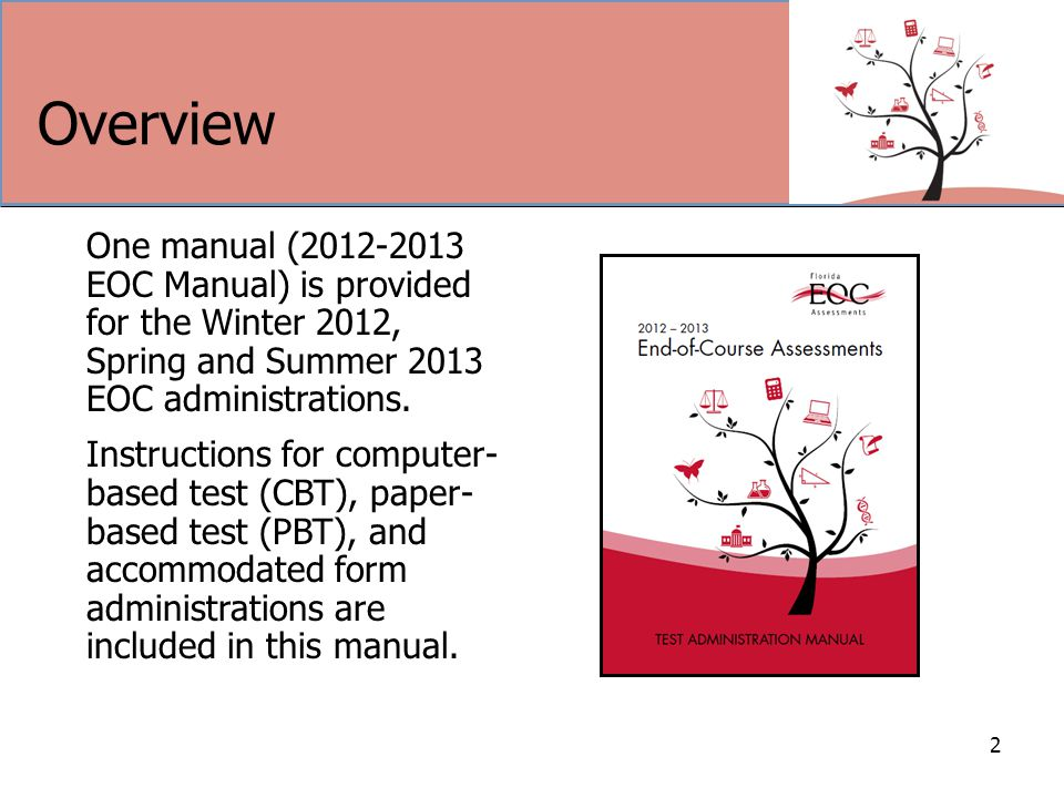 Overview 2 One manual (2012-2013 EOC Manual) is provided for the Winter 2012, Spring and Summer 2013 EOC administrations.