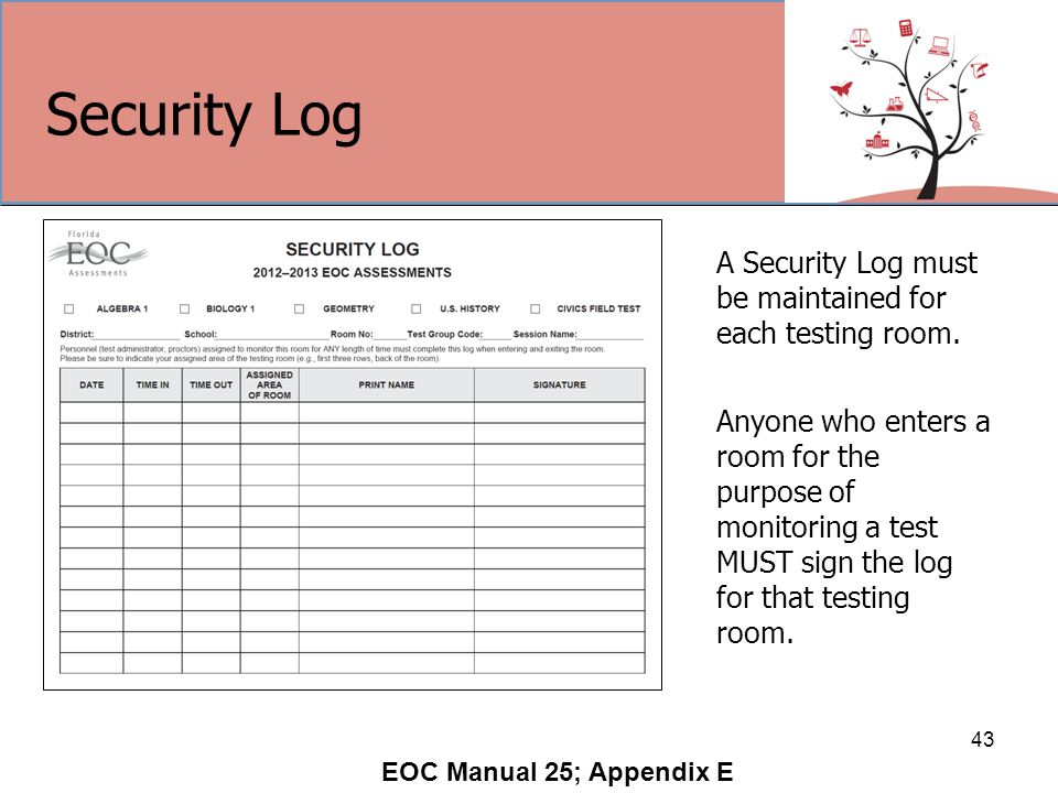 Security Log 43 A Security Log must be maintained for each testing room.