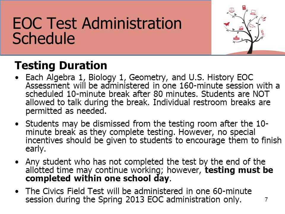 EOC Test Administration Schedule Testing Duration Each Algebra 1, Biology 1, Geometry, and U.S.