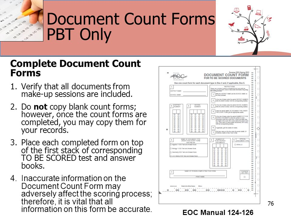 Document Count Forms PBT Only Complete Document Count Forms 1.Verify that all documents from make-up sessions are included.