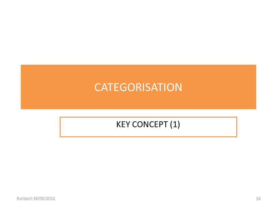 CATEGORISATION KEY CONCEPT (1) Burbach 16/06/201214