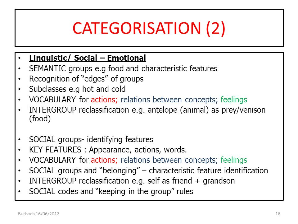 """CATEGORISATION (2) Linguistic/ Social – Emotional SEMANTIC groups e.g food and characteristic features Recognition of """"edges"""" of groups Subclasses e.g"""