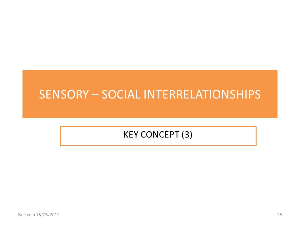 SENSORY – SOCIAL INTERRELATIONSHIPS KEY CONCEPT (3) Burbach 16/06/201225