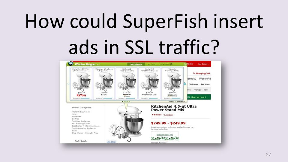 How could SuperFish insert ads in SSL traffic? 27
