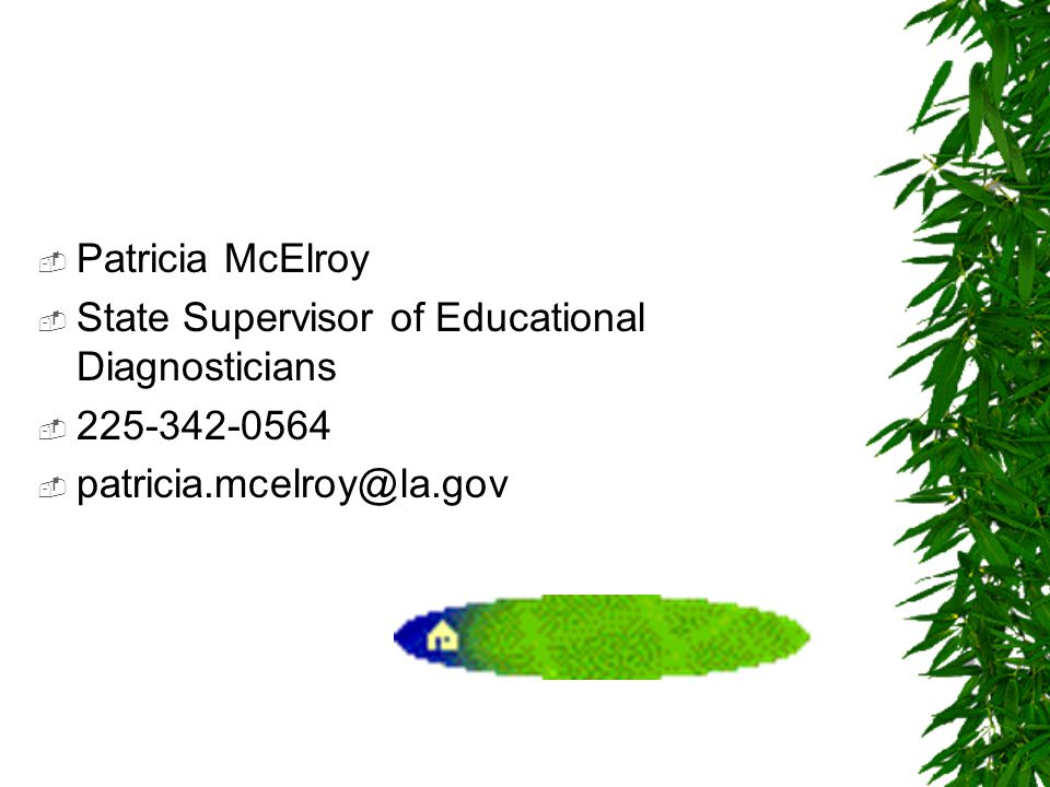  Patricia McElroy  State Supervisor of Educational Diagnosticians  225-342-0564  patricia.mcelroy@la.gov