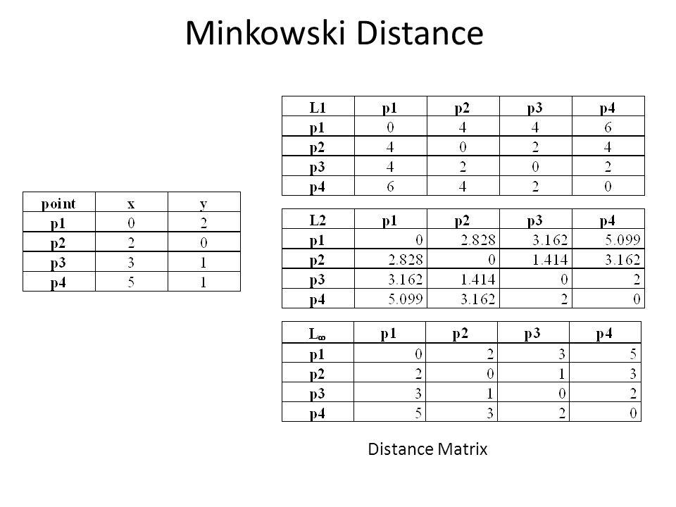 Minkowski Distance Distance Matrix