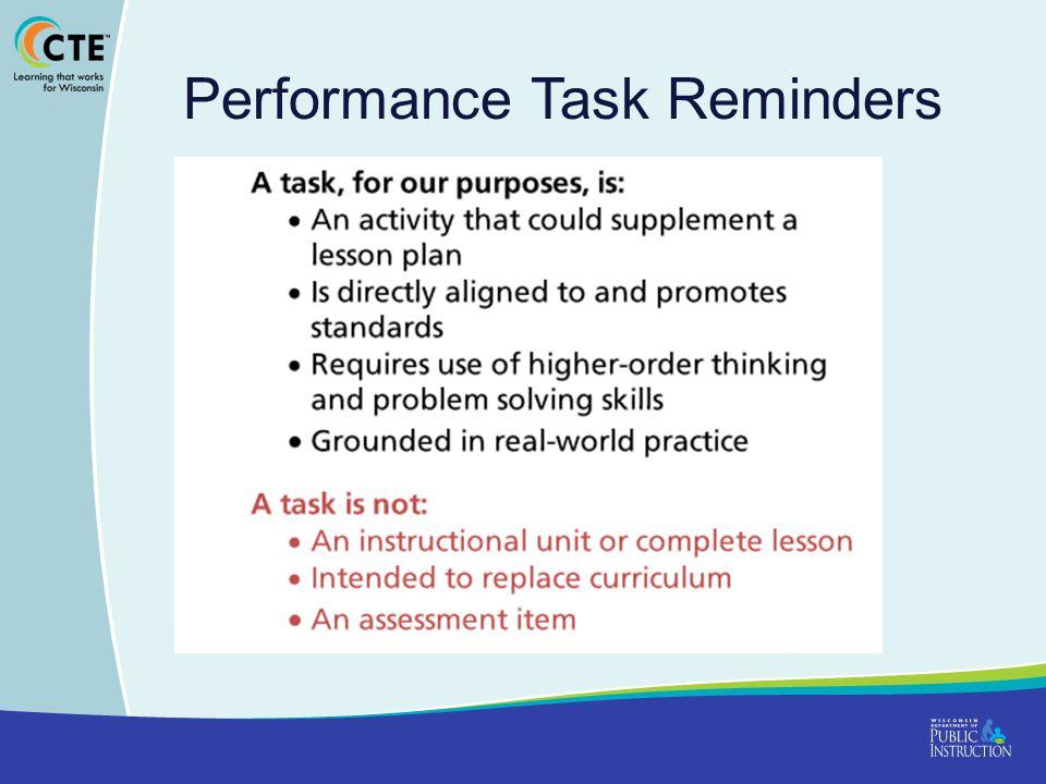 Performance Task Reminders