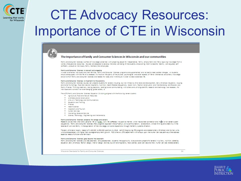 CTE Advocacy Resources: Importance of CTE in Wisconsin