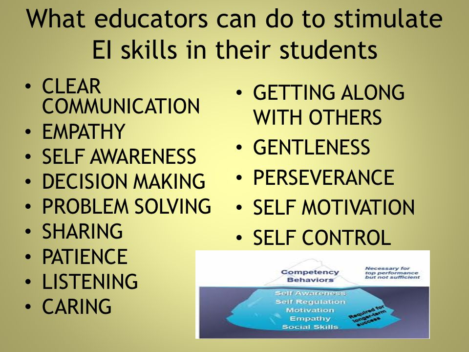 What educators can do to stimulate EI skills in their students CLEAR COMMUNICATION EMPATHY SELF AWARENESS DECISION MAKING PROBLEM SOLVING SHARING PATI