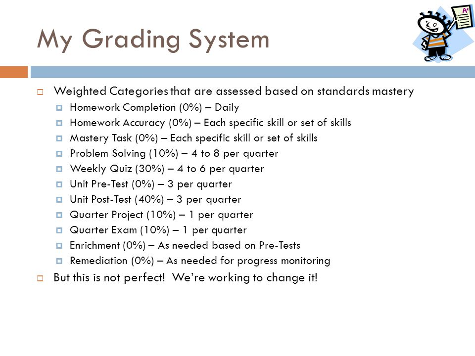 My Grading System  Weighted Categories that are assessed based on standards mastery  Homework Completion (0%) – Daily  Homework Accuracy (0%) – Eac