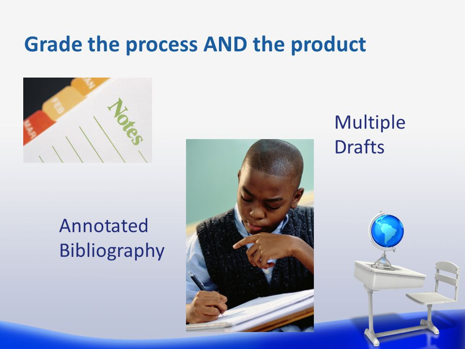 Grade the process AND the product Annotated Bibliography Multiple Drafts